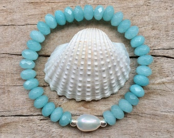 mermaid jewelry,  beach wedding bracelet, bridal jewelry, pearl bracelet, beachcomber bohemian bracelet, gift idea