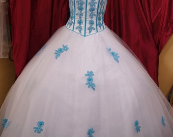 Prom Vintage Dress white turquoise flowers appliqués beaded bodice skirt has turquoise blue appliqués, prom, White turquoise Wedding Dress