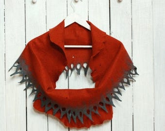 Infinity scarf - felted wool circle scarf from rust and grey merino wool - autumn winter scarf
