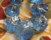 Blue Quartz Organic Coins Extra Large Cross Drilled Gemstone Beads