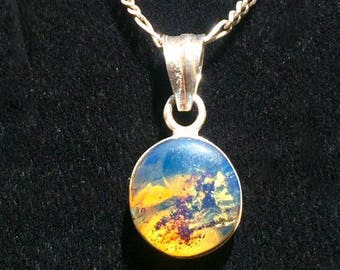 """0.9"""" in  Beautiful  Faceted Dominican  Blue  Amber Pendant  Sterling Silver"""