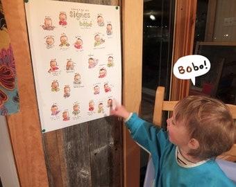"Baby sign language - POSTER 13""X17"""