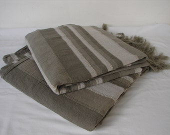 pair vintage, Indian, striped grey, gray cotton mix, chair or sofa throws with fringe,each 105'' x 60''