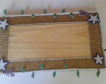 CHALLAH/KITKA BOARD. Jewish Bread Board Hand crafted in Africa - Wooden center piece with beaded design around edges. Unique designed  board