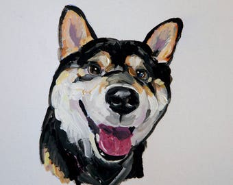 Ready to ship, Original dog painting on paper Black Shiba Inu watercolor
