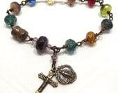Catholic Rosary Bracelet Wire wrapped Miraculous Medal Czech Glass Jewelry