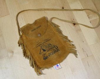 Vintage Leather Fringed Grand Canyon Flask Holder