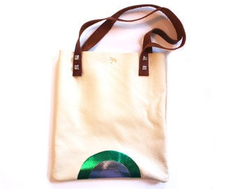leather tote,metallic tote, cream leather bag, simple tote bag, leather tote bag,unique tote bag,rainbow tote rainbow bag, 'the Simple Tote'