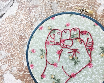 """Embroidery Hoop Art • Floral """"Fists Up"""" • Feminist Art Home Decor • Embroidered Wall Hanging"""