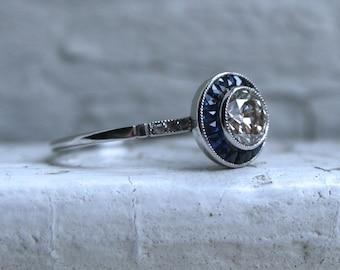 Vintage Art Deco Platinum Diamond and Sapphire Engagement Ring - 1.33ct.