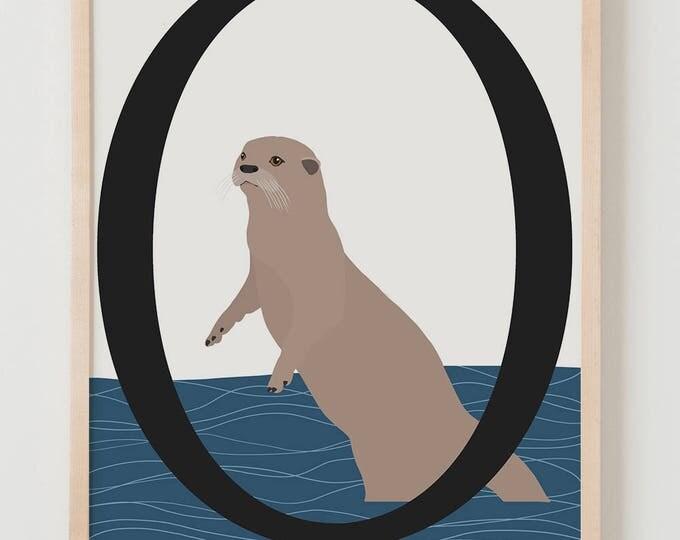 Animal Alphabet, O is for Otter Fine Art Print