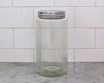 Hoosier cabinet glass canister, Sneath ribbed glass canister, coffee jar with metal screw top, storage jar for retro or country kitchen