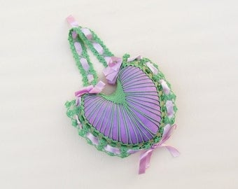 Vintage heart shaped pin cushion, hanging purple taffeta pin cushion with green crocheted lace and lilac ribbon