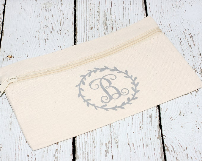 Featured listing image: Monogrammed Makeup Bag, Wreath Design