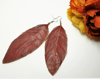 Oxblood Red - Large Faux Leather Feather Earrings, Feather, Bohemian Bride, Boho Earrings, Feather Earrings