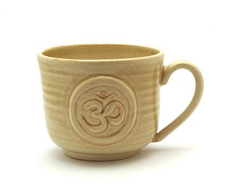 Om Coffee Mug, Cream Ohm Symbol Handmade Pottery Cup, Zen, Yoga, Meditation Yogi  Fathers Day Relax Namaste Gift Ready to Ship