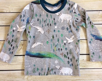 Arctic Song Organic Knit Shirt - Long or Short Sleeves Sizes 0/3 Months- 6. Organic clothing for Babies, Toddlers & Children