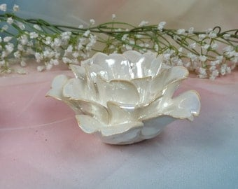 3w/ tea light ~  Open Rose Petal Votive Candle Holder, tea light / Iridescent / Gift / Wedding Decor / Elegant Mothers Day  /  Gift under 50