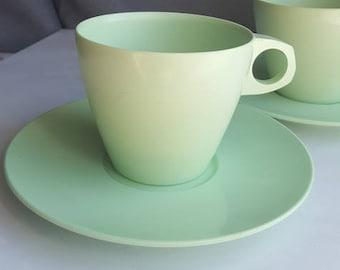 2 x Retro 1960's Bex picnic ware. Pastel mint green