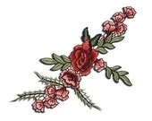 Embroidered Flower Rose Patch Applique, Rose Embroidery Badge
