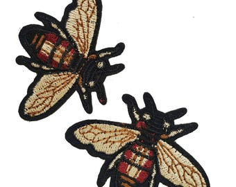 Embroidered Iron On Fly Patches Appliques, Insects Gucci Style Badges, Iron on Flies Patches 2 pcs