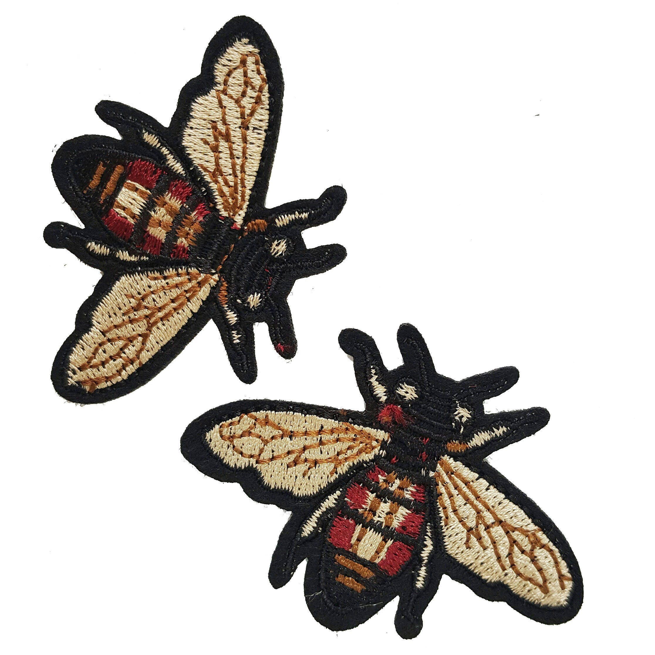 Embroidered iron on fly patches appliques insects gucci style
