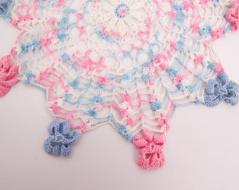 Vintage Flower Shaped Doily Scalloped Edge Pink and Blue Doily 13 Inch Table Linen Runner Vanity Hand Crocheted Lace Dresser