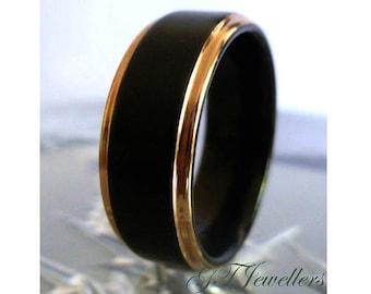 Black Tungsten & Rose Gold Wedding Band, Brushed Tungsten Ring, Wedding Ring, Women Men, His Hers, Anniversary Ring, Engagement Band TR87