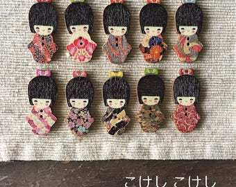 """Kokeshi Doll Lightweight Wooden Buttons 40mm (1 1/2"""") - Japanese Cuteness - こけし, こけし  - Perfect for Scrapbooking Decoration (10)"""