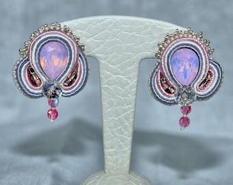 Pink crystal bead wedding earrings, bridal OOAK jewellery