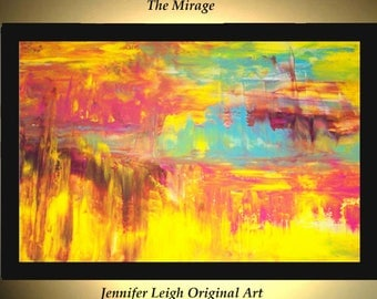Original Large Abstract Painting Modern Acrylic Painting Oil Painting Canvas MIRAGE Yellow Purple Blue 36x24 Textured Wall Art  J.LEIGH