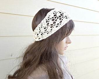 Boho Lacy Cotton Bamboo Headband, Multiple colors and sizes. Wedding, bridal, prom, chic, western, country, all seasons, hypo-allergenic