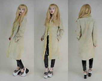 90s Does 70s Beige Suede Shaggy Faux Fur Penny Lane Coat S