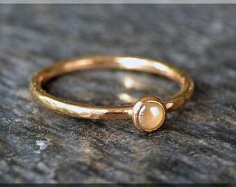 14k Gold Filled Swarovski Pearl Ring, June Birthstone Stacking Ring, Mini Swarovski Ring, Ivory Pearl Stacking Ring, Gold Pearl Ring