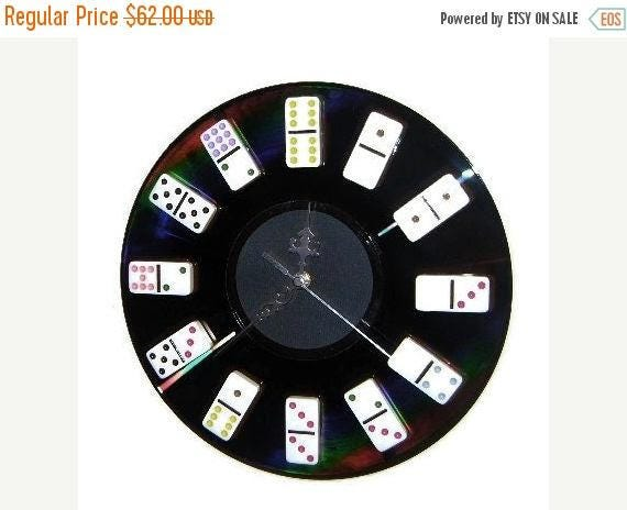 Game Room Clock, Bar Decor, Home and Living, Decor and Housewares, Home Decor, Domino Clock, Game Room Decor,  Gift For Him