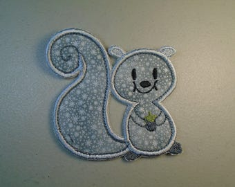 Squirrel  iron on or sew on applique patch