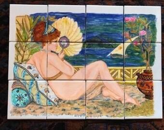 Hand Painted Ceramic Tile Mural - Backsplash for kitchen bathroom, Egypt Theme, Cleopatra on Nile