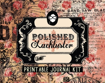Grungy Pages Digital – Polished Lackluster - 16 Journal Pages, grungy digital pages, lined notebook, floral journals, journaling pages