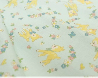 YUWA Atsuko Matsuyama 30's Collection - bambi and floral in blue, retro, old new 30s, made in Japan, floral fabric, fat quarter