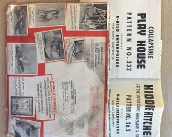 2 Vintage U-Bild Patterns | Kiddie Kitchen  363 & Collapsible Play House 332 | 60's | Build It Yourself