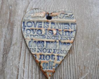 love is kind ceramic pendant  pottery jewelry