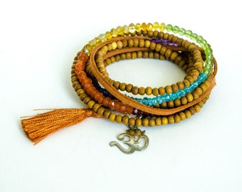 Chakra Wrap Bracelet Seven Precious Gems Sandalwood Silver Om Silk Tassel - BR0007