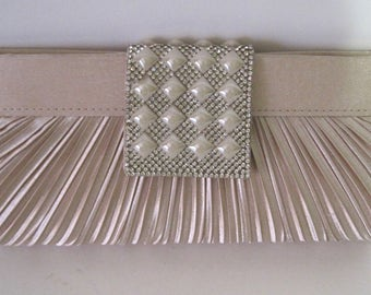 Gorgeous Blush Pleated Front Clutch with Pearl and Rhinestone Flap and Snap Closure with Metal Chain Shoulder Strap Wedding