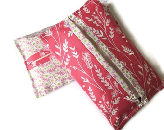 2 x Paper Handkerchief Holders - Pink Cotton Fabric Cover for Paper Tissues - Kleenex Cover Case - Paper Hankie Case