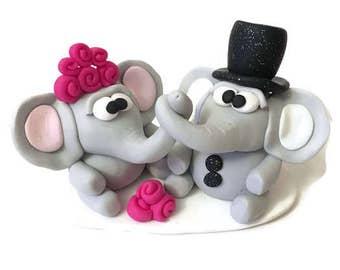 Wedding Cake Topper, Elephant Wedding Topper, Custom Cake Topper, Wedding Cake Decor, Polymer Clay Wedding Topper, Wedding Keepsake,