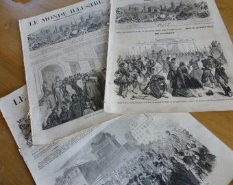 3 Antique Magazines, Journals, Newspapers,  L'Illustration, French, Dated 1859 Original.