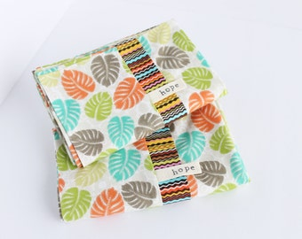 Hawaiian Pillowcases Bedding Tangerine Lime Banana Leaves Rainforest Cotton Africa Adoption Fundraiser