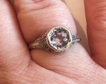 Art Deco Revival Ring, Amethyst Gemstone Vintage Jewelry, WINTER SALE
