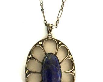 Art Deco Lapis Lazuli Pendant, Camphor Glass, Rock Crystal, Sterling Silver, Vintage Jewelry SPRING SALE