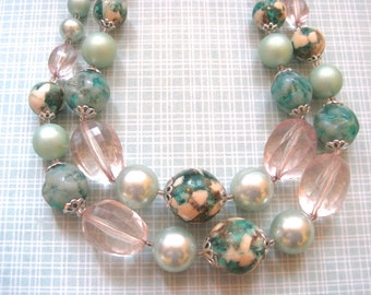 Vintage Two Strand Necklace JAPAN Mint Green and Aqua Beads 1960s Beaded Choker